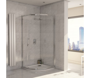 Iona A8 Easy Clean 8mm Glass Single Door Offset Quadrant Shower 900mm x 760mm
