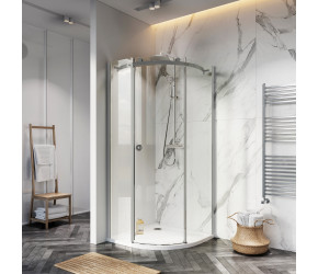 Iona A8 Easy Clean 8mm Glass Frameless Quadrant Shower Door 900mm Right Hand
