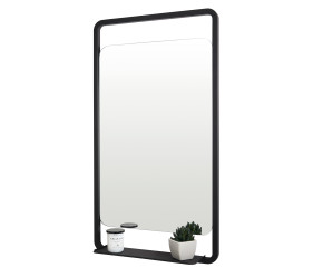 Iona Noire Black Soft Square Mirror With Shelf 900mmx 500mm
