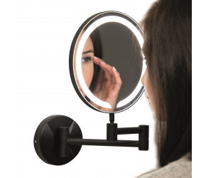 Iona Round Black LED Wall Mounted Make-Up Mirror 200mm
