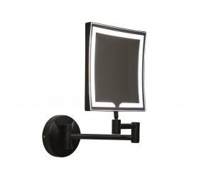Iona Square Black LED Wall Mounted Make-Up Mirror 200mm