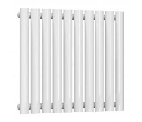 Reina Neval White Aluminium Single Panel Oval Tube Horizontal Radiator 600 x 581