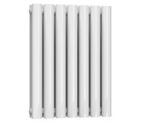 Reina Neval White Aluminium Double Panel Oval Tube Horizontal Radiator 600 x 404
