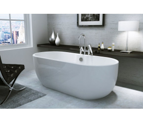 Iona Riviera Gloss White Freestanding Bath 1555mm x 750mm