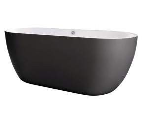 Iona Riviera Matt Black Freestanding Bath 1655mm x 750mm