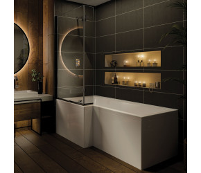 Iona L Shaped Shower Bath 1700mm x 850mm Left Hand with Panel and Screen