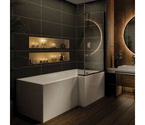 Iona L Shaped Shower Bath 1700mm x 850mm Right Hand with Panel and Screen