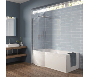 Iona P Shaped Shower Bath 1700mm x 850mm Left Hand with Panel and Screen