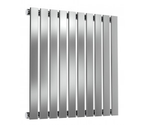 Reina Flox Polished Stainless Steel Single Panel Flat Radiator 600mm x 590mm