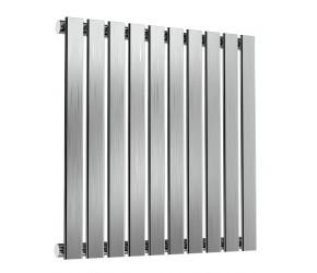 Reina Flox Brushed Stainless Steel Single Panel Flat Radiator 600mm x 590mm