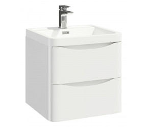Iona Contour Gloss White Wall Hung Two Drawer Vanity Unit and Basin 500mm
