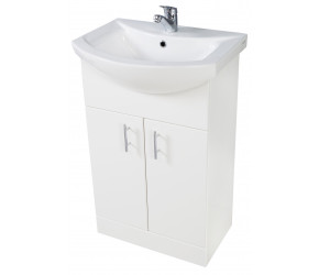 Iona Verona Gloss White Floor Standing Bathroom Vanity Unit and Basin 650mm