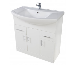 Iona Verona Gloss White Floor Standing Bathroom Vanity Unit and Basin 750mm