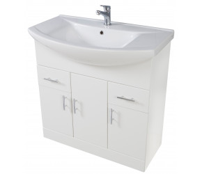 Iona Verona Gloss White Floor Standing Bathroom Vanity Unit and Basin 850mm