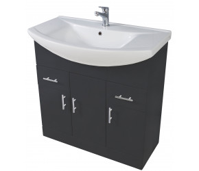 Iona Verona Anthracite Floor Standing Bathroom Vanity Unit and Basin 850mm