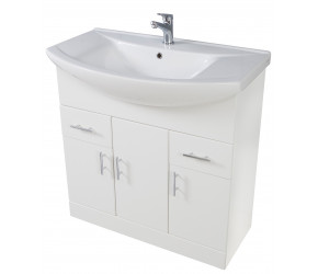 Iona Verona Gloss White Floor Standing Bathroom Vanity Unit and Basin 950mm
