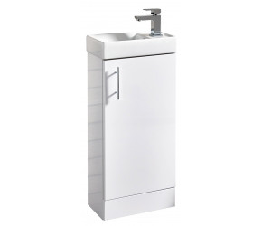Iona Verona Gloss White Floorstanding Cloakroom Vanity Unit And Basin 400mm