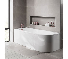 Iona J Shaped Shower Bath 1700mm x 750mm Left Hand with Panel