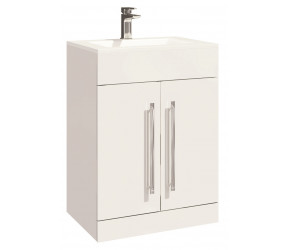 Iona Life Gloss White Floor Standing Two Door Vanity Unit And Basin 600mm