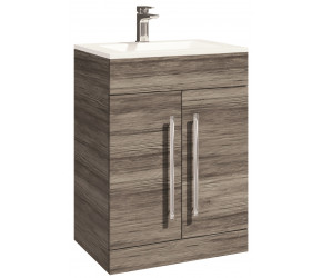 Iona Life Avola Grey Floor Standing Two Door Vanity Unit And Basin 600mm