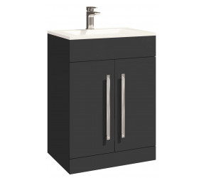 Iona Life Matt Grey Floor Standing Two Door Vanity Unit And Basin 600mm