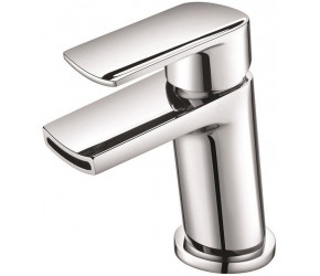 Iona Nero Chrome Mini Mono Basin Mixer Tap With Push Waste
