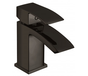 Iona Distro Matt Black Mono Basin Mixer Tap With Push Waste