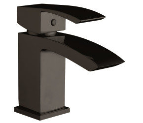 Iona Distro Matt Black Mini Mono Basin Mixer Tap With Push Waste