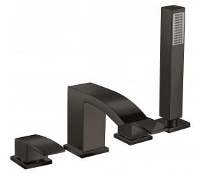 Iona Distro Matt Black 4 Taphole Deck Mounted Bath Shower Mixer Tap