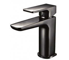 Iona Uno Matt Black Mono Basin Mixer Tap With Push Waste