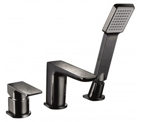 Iona Uno Matt Black 3 Taphole Deck Mounted Bath Shower Mixer Tap