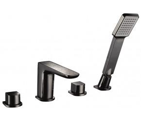 Iona Uno Matt Black 4 Taphole Bath Shower Mixer Tap