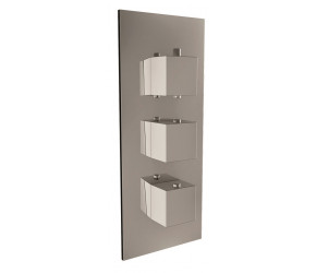 Iona Chrome Square Handle Concealed Triple Shower Valve