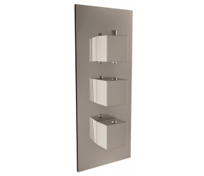 Iona Chrome Square Handle Concealed Triple Shower Valve With Diverter