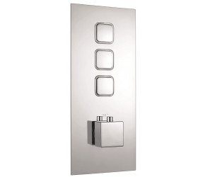 Iona Chrome Square Push Button Triple Concealed Shower Valve
