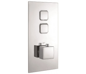Iona Chrome Square Push Button Twin Concealed Shower Valve