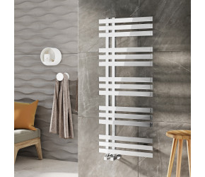 Iona Luxxus Chrome Designer Heated Towel Rail 800mm x 500mm