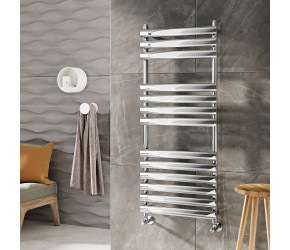 Iona Tubular Chrome Designer Heated Towel Rail 800mm x 500mm