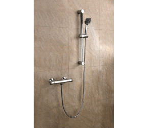 Iona Entry Chrome Round Bar Shower Valve With Riser Kit and Fast Fix Brackets