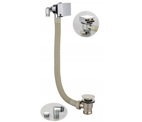 Iona Chrome Square Bath Filler And Overflow With Sprung Waste