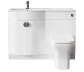 Iona Solar Gloss White P Shaped Vanity Basin Unit Pack 1100mm Left Hand