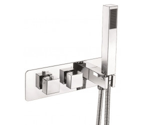 Iona Chrome Square Concealed Horizontal Triple Shower Valve With Diverter