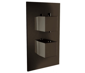 Iona Matt Black Square Concealed Twin Shower Valve With Diverter