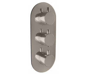 Iona Chrome Oval Concealed Triple Shower Valve With Diverter