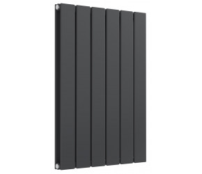 Reina Flat Anthracite Double Panel Horizontal Radiator 600mm High x 440mm Wide
