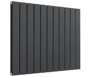 Reina Flat Anthracite Double Panel Horizontal Radiator 600mm High x 810mm Wide