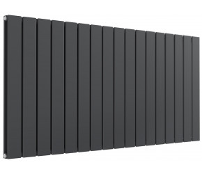 Reina Flat Anthracite Double Panel Horizontal Radiator 600mm High x 1254mm Wide