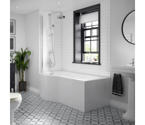 BC Designs Solid Blue P Shaped Shower Bath Left Hand 1700mm