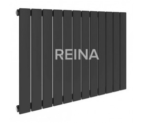 Reina Flat Anthracite Single Panel Horizontal Radiator 600mm High x 588mm Wide
