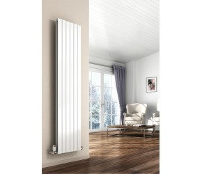 Reina Flat White Single Panel Vertical Radiator 1800mm High x 292mm Wide
